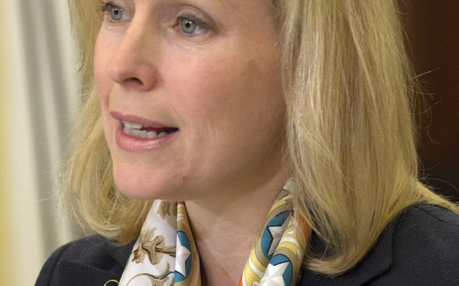 Sen. Kirsten Gillibrand, D-N.Y., shown here at a Senate committee hearing on sexual assault February 26, 2014, says the number of soldiers disqualified for sensitive jobs indicates the need for radical reform of the military's approach to sexual assault prosecution.