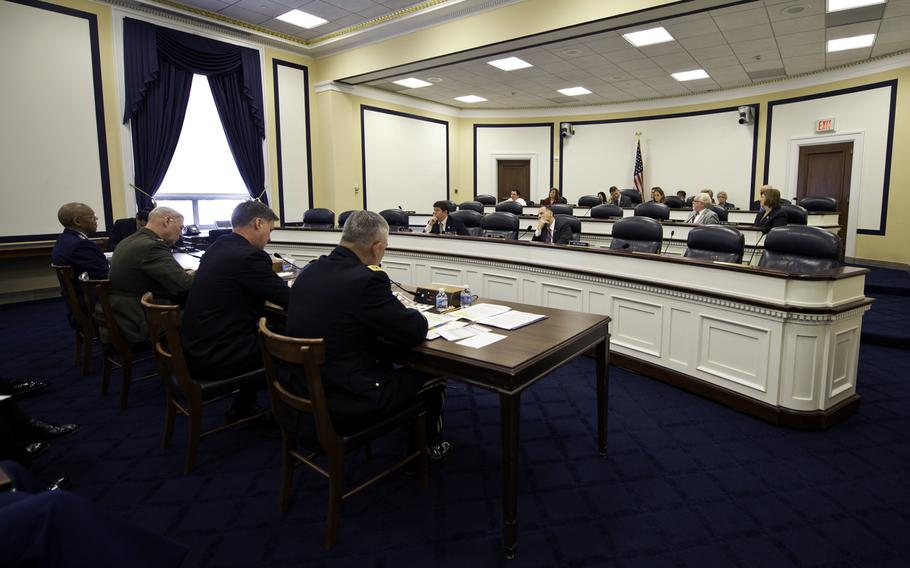 Joint Chiefs of Staff respond to questions during the House Armed Services Committee on Readiness at the Rayburn House Office Building, Washington, D.C., April 10, 2014.