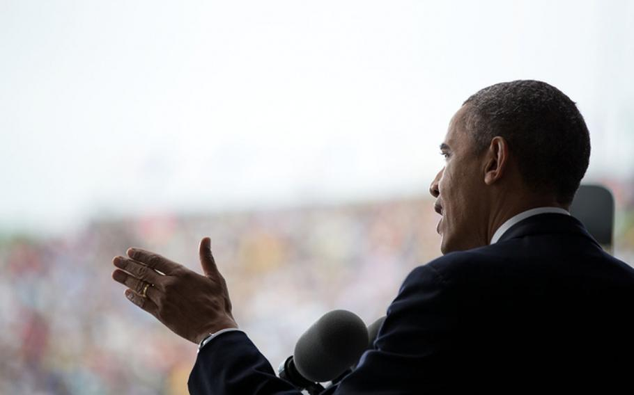 President Barack Obama delivers the commencement address in Michie Stadium at the United States Military Academy at West Point in West Point, N.Y., May 28, 2014.