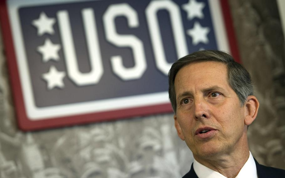 Sloan Gibson, shown here in 2011 as president of the USO at a Pentagon event, is the interim Secretary of Veterans Affairs.