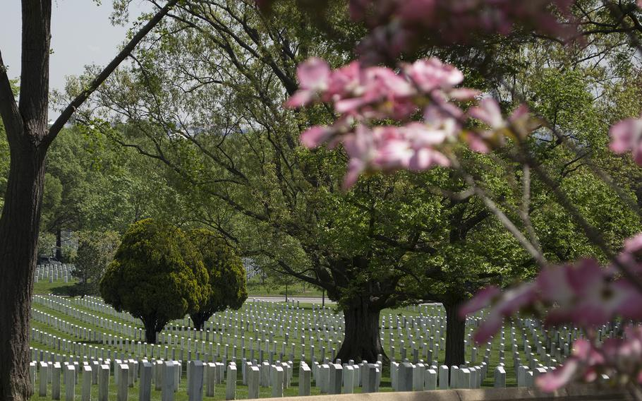 Rows of grave markers at Arlington National Cemetery in May 2014.