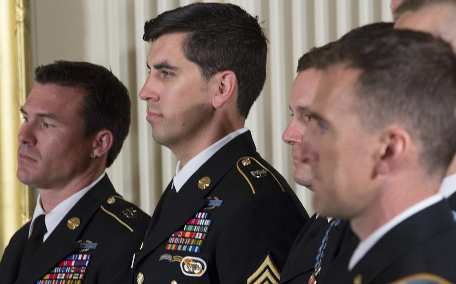 Medal of Honor ceremony for former Army Staff Sgt. Ryan Pitts at the White House, July 21, 2014.