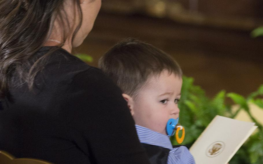 Medal of Honor recipient Ryan Pitts's wife Amy and son Lucas at the White House, July 21, 2014.