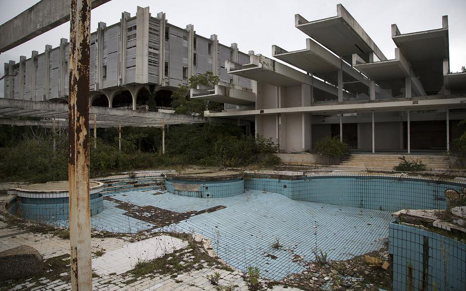 This Oct. 23, 2014, photo shows a swimming pool at the abandoned Palace hotel at deserted tourist resort of Haludovo, near Malinska on the northern Adriatic island of Krk, Croatia. The resort was built as a joint venture of Yugoslav communist government and Bob Guccione, the founder of the Penthouse magazine. The resort was intended as a haven of extreme decadence for upscale vacationers on the Adriatic Sea. Today, it sits abandoned due to ownership issues and mismanagement.