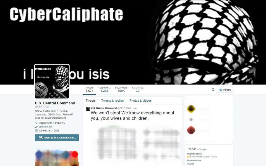 A screen capture of CENTCOM's hacked Twitter account.