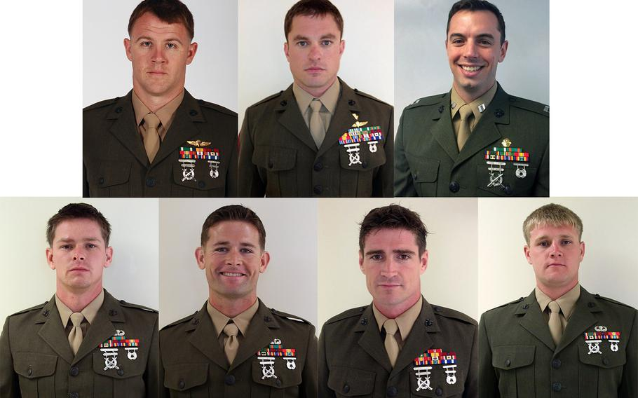 The seven Marines killed  when a U.S. Army UH-60 Blackhawk Helicopter crashed near Eglin, Fla., on March 10, 2015. Top row, from left: Staff Sgt. Andrew C. Seif, 26, from Holland, Mich.; Master Sgt. Thomas A. Saunders, 33, from Williamsburg, Va.; Capt. Stanford H. Shaw, III, 31, from Basking Ridge, N.J.  Bottom row, from left: Staff Sgt. Marcus S. Bawol, 26, from Warren, Mich.; Staff Sgt. Trevor P. Blaylock, 29, from Lake Orion, Mich.; Staff Sgt. Liam A. Flynn, 33, from Queens, N.Y.; Staff Sgt. Kerry M. Kemp, 27, from Port Washington, Wis.