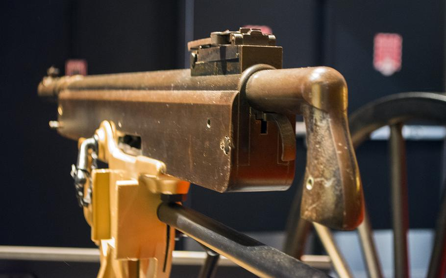Looking down the rifle on display at the National Museum of the Marine Corps on Feb. 19, 2015.