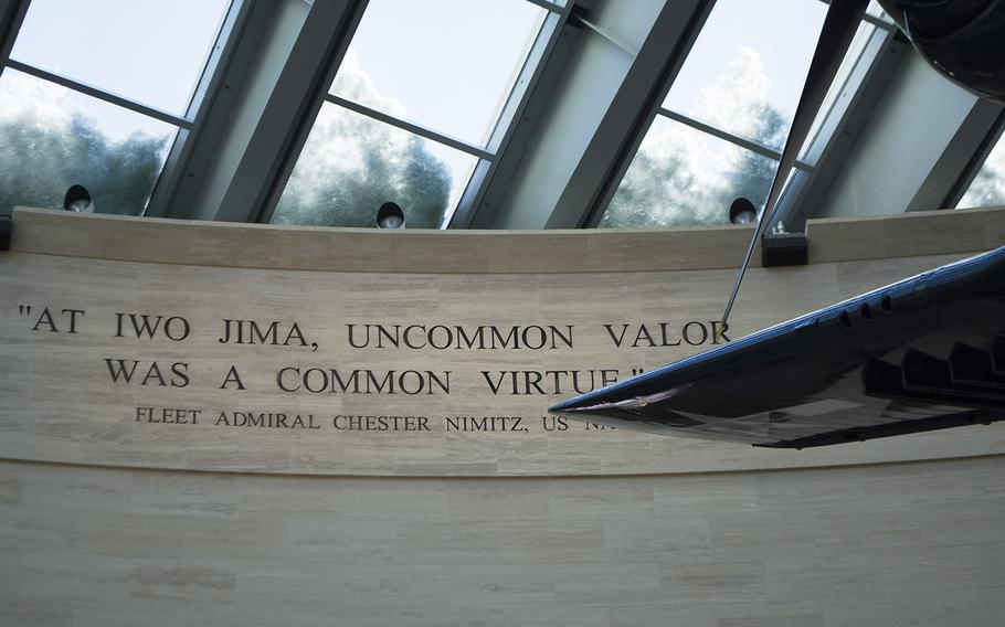 When entering the National Museum of the Marine Corps, visitors first walk into the Leatherneck Gallery, where planes hang from the ceiling and a few large displays rest. Along the edge of the see-through ceiling (covered slightly in snow in this Feb. 19, 2015 photo), are quotes by famous Marines.