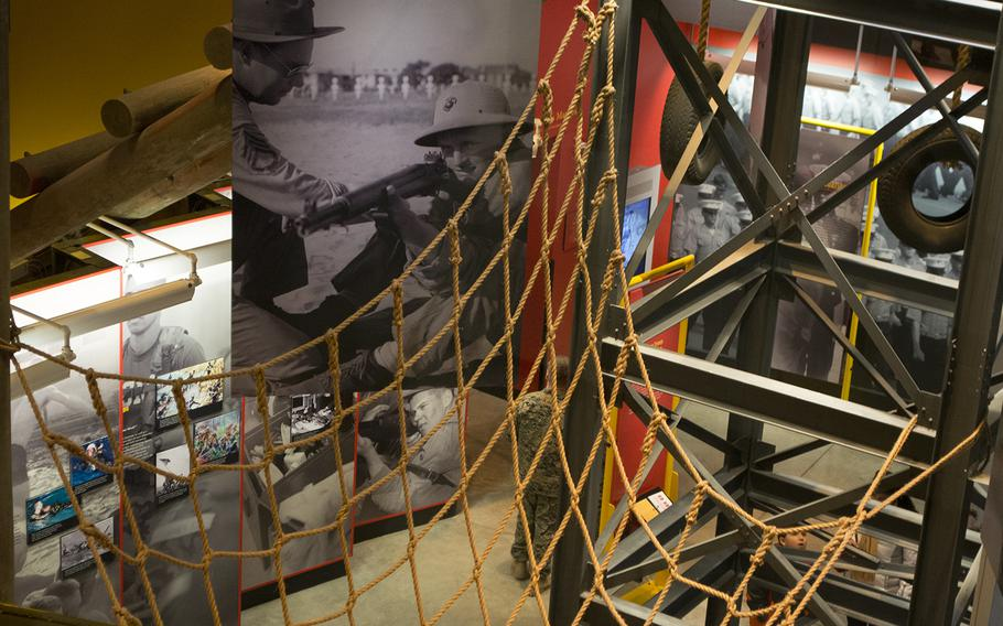 Looking down from the second floor of the National Museum of the Marine Corps into an exhibit on the first floor Feb. 19, 2015.