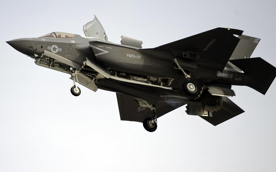 A Marine Fighter Attack Squadron 121 F-35B Joint Strike Fighter prepares to make a vertical landing aboard Marine Corps Air Station Yuma, Ariz., March 21, 2013.
