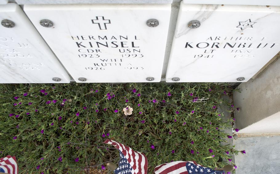 Members of The Old Guard had placed these flags inside the columbarium during the Flags-In at Arlington National Cemetery on May 21, 2015.