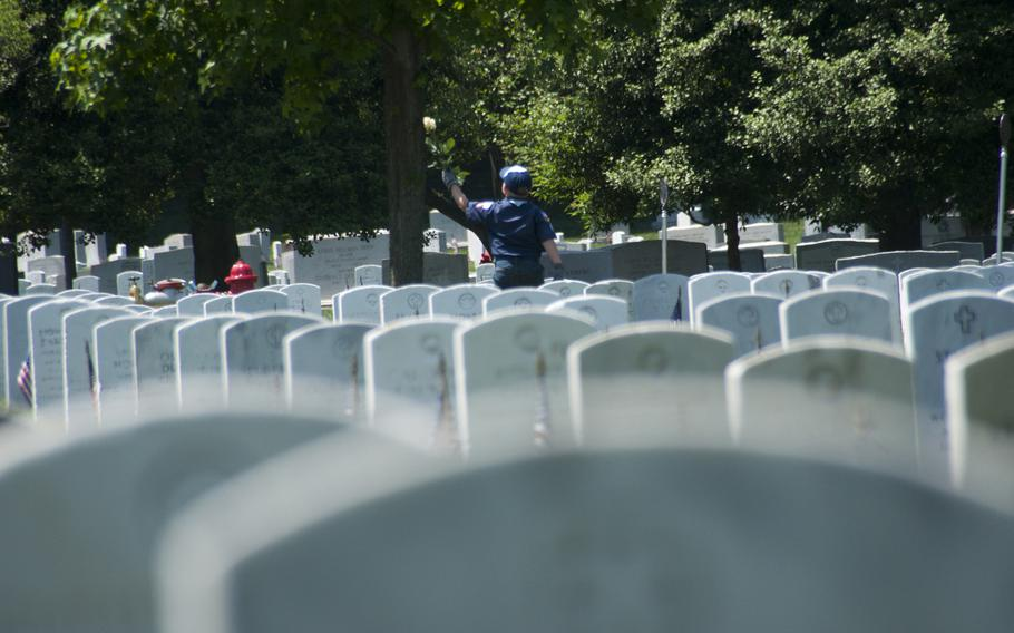 Boy Scout Simon Maly, 9, helps lay roses at gravestones at Arlington National Cemetery for Memorial Day on May 24, 2015.
