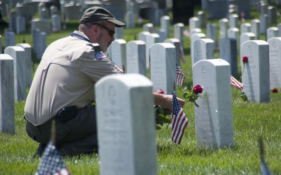 Boy Scouts and other volunteers help lay roses at gravestones at Arlington National Cemetery for Memorial Day on May 24, 2015.