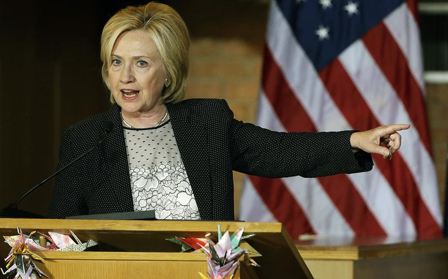 Democratic presidential candidate Hillary Rodham Clinton speaks during a campaign stop at Christ the King United Church of Christ, on June 23, 2015, in Florissant, Mo.