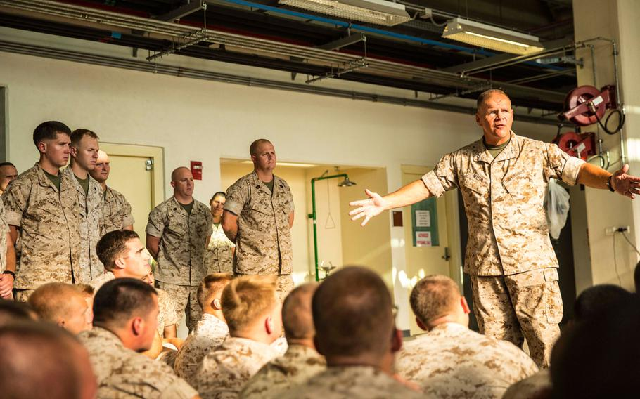 Lt. Gen. Robert Neller, the commanding general of Marine Corps Forces Command, talks to servicemembers at Naval Air Station Sigonella, Italy, on Aug. 9, 2014.