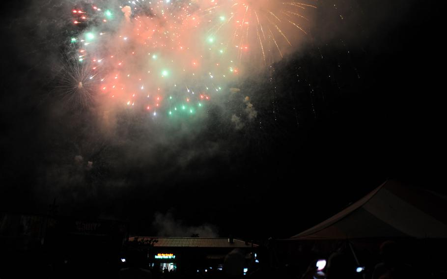 Fireworks over Camp Casey, South Korea, during their Independence Day celebration on July 4, 2015.