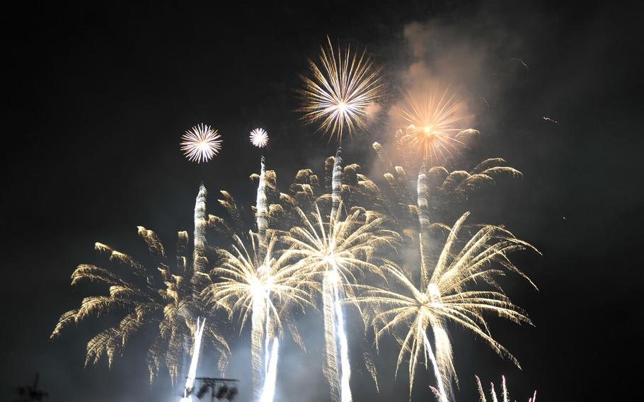 Fireworks at the Independence Day celebration on Camp Casey in South Korea on July 4, 2015.