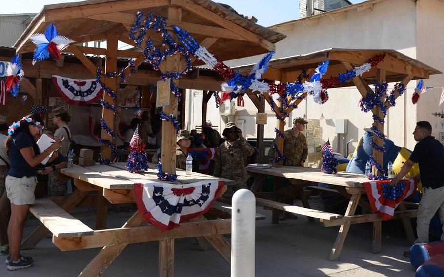 U.S. Airmen assigned to the 455th Air Expeditionary Wing celebrate Independence Day with a block party July 3, 2015, at Bagram Airfield, Afghanistan. The block party, which was hosted by the 455th Expeditionary Force Support Squadron, included games, food and a firefighter challenge.