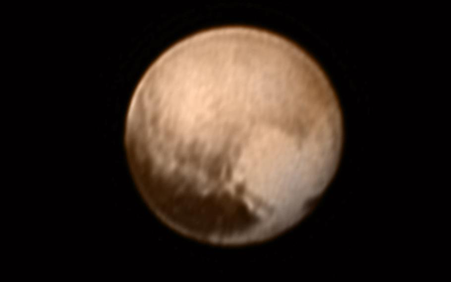 """Pluto's """"heart"""" first appeared in this July 11, 2015, image."""