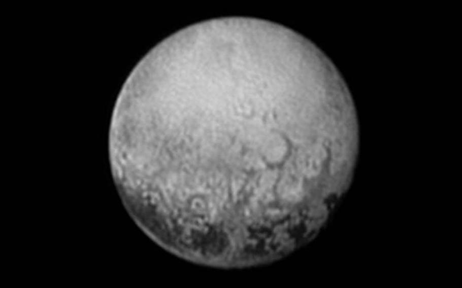 New Horizons spotted more strange spots in this July 11, 2015, photo.