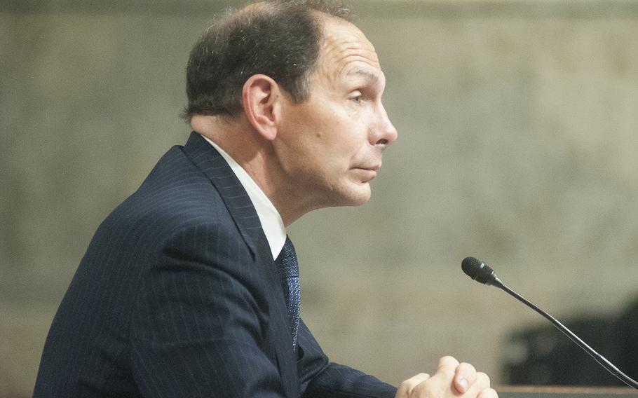 At his confirmation hearing July 22, 2014, then Secretary of Veterans Affairs nominee Robert McDonald listens as members of the Senate Committee on Veterans Affairs ask him questions.