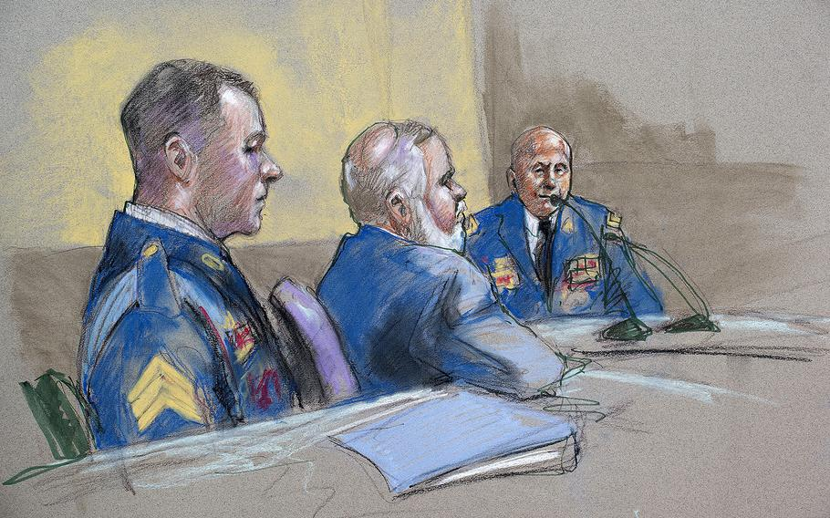 Army Sgt. Bowe Bergdahl, left, and defense lead counsel Eugene Fidell, center, look on as Maj. Gen. Kenneth Dahl is questioned during a preliminary hearing on Friday, Sept. 18, 2015, at Fort Sam Houston, Texas, to determine if Bergdahl will be court-martialed.