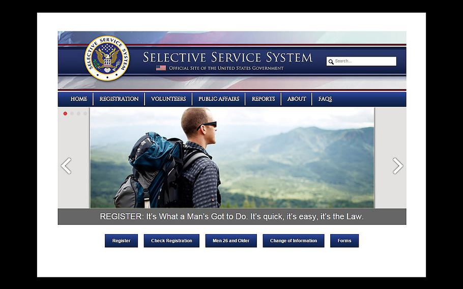 A screen grab shows a Selective Service System web page. A California court is slated to hear arguments on Tuesday, Dec. 8, 2015, that challenges the United States male only requirement for registering with the Selective Service which is used in the event that the draft is re-instated.
