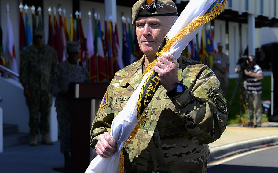 """Newly promoted Army Gen. Raymond """"Tony"""" Thomas assumed command of U.S. Special Operations Command Mar. 30, 2016, during a change-of-command ceremony at MacDill Air Force Base, Fla."""