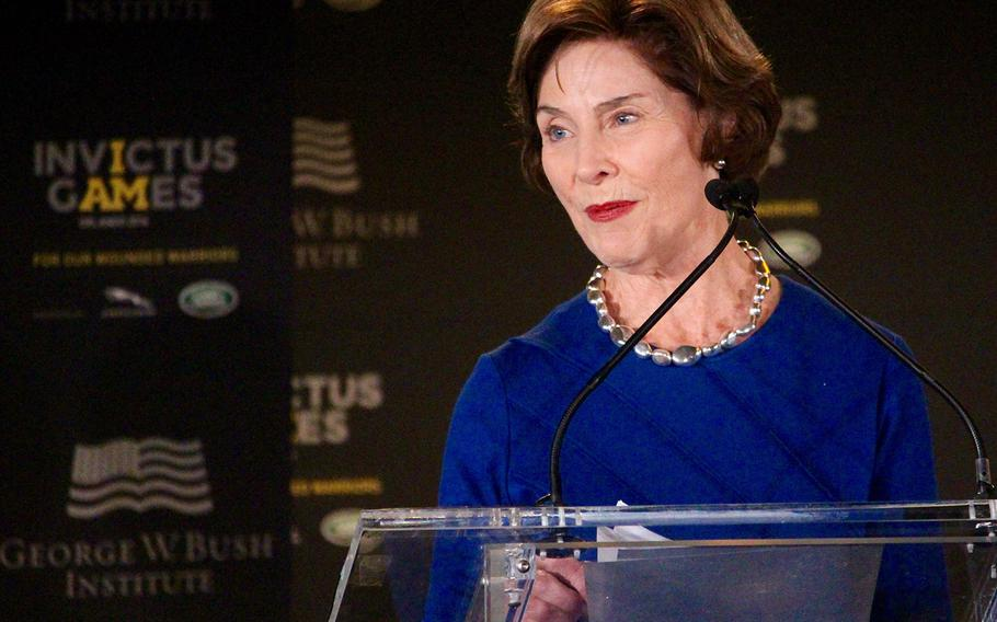 Former First Lady Laura Bush speaks at the 2016 Invictus Games Symposium on Invisible Wounds, Sunday, May 8, 2016 at Orlando, Fla.