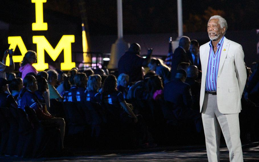 Actor Morgan Freeman, onstage during the opening ceremonies of the 2016 Invictus Games.