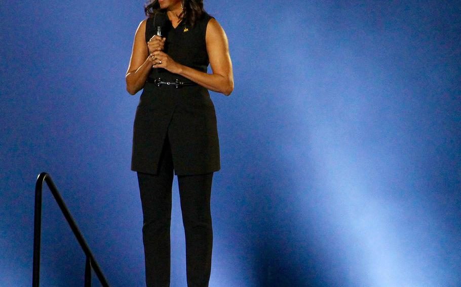 First Lady Michelle Obama addresses the crowd during  the opening ceremonies of the 2016 Invictus Games.