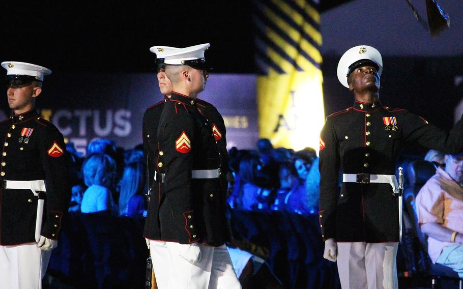The U.S. Marine Corps Silent Drill Platoon performs a routine during the opening ceremonies of the 2016 Invictus Games.
