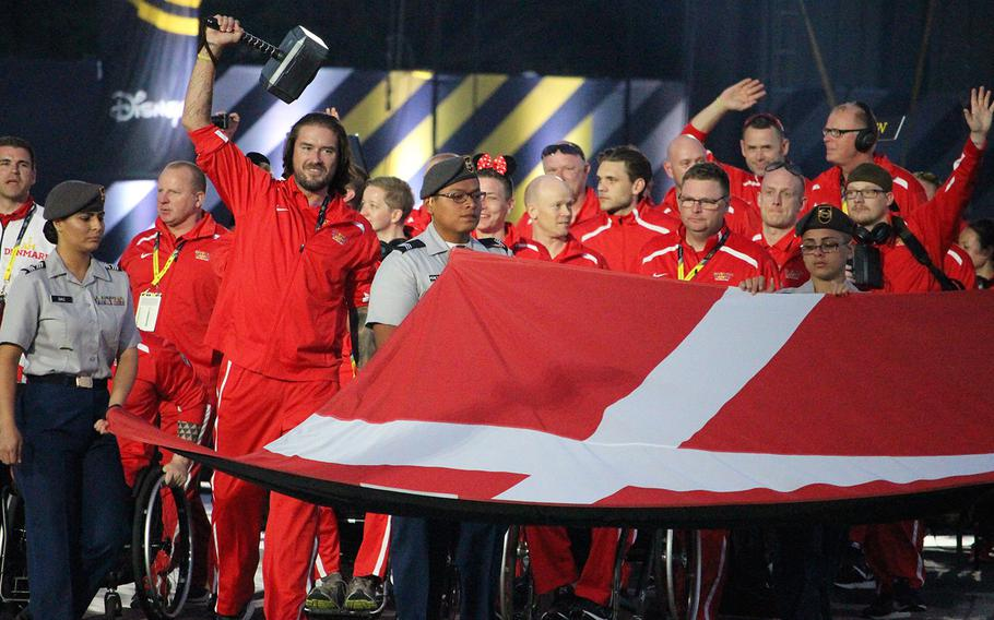 The team from Denmark enters the Wide World of Sports Complex in Kissimmee, Fla. on Sunday, May 8, 2016, during the opening ceremonies of the 2016 Invictus Games.