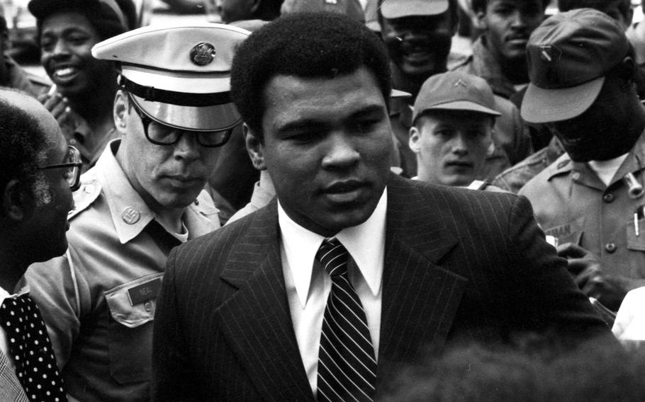 Muhammad Ali arrives at Sheridan Barracks in Augsburg, West Germany, in May, 1976. Ali had beaten Richard Dunn in a fight at Munich a few days earlier.