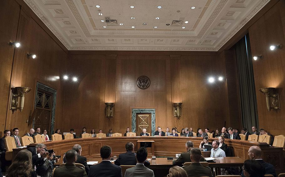 Testimony is given in the U.S. Senate Committee on Appropriations Department of Defense hearing room on April 27, 2016, as members considered the Department of Defense fiscal year 2017 budget. The Senate on Thursday, June 9, rejected a bid to add $18 billion to the military budget.