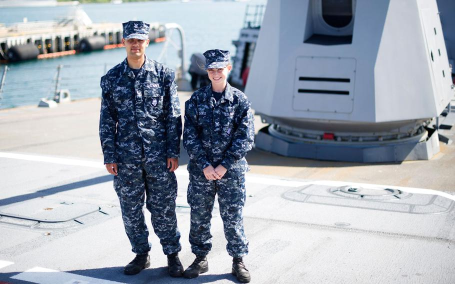 Sailors wear the Navy's Type I uniform aboard the guided-missile destroyer USS Chafee, June 11, 2014. The clothing has been widely panned by sailors as uncomfortable and heavy, and was found to be unsafe near fire.