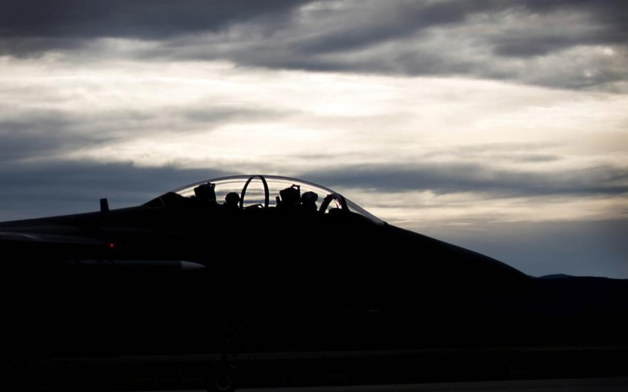 A U.S. Air Force F-15E Strike Eagle dual-role fighter aircraft assigned to the 336th Fighter Squadron, Seymour Johnson Air Force Base, N.C., prepares to take off Aug. 5, 2016, from Eielson Air Force Base, Alaska.
