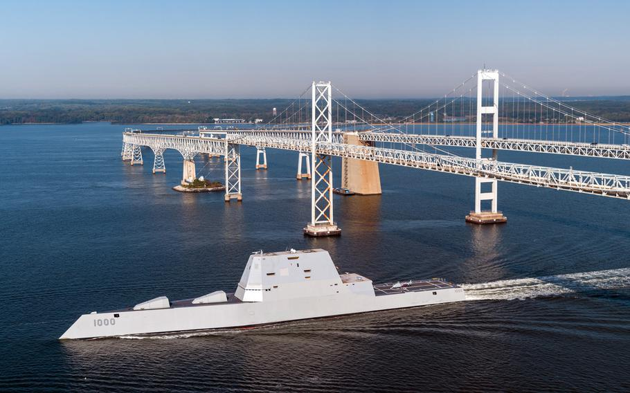 USS Zumwalt passes under the Gov. William Preston Lane Memorial Bridge, also known as the Chesapeake Bay Bridge, as the ship travels to its new home port of San Diego, Calif. Oct. 17, 2016. The Navy announced Tuesday, Nov. 22, 2016, that the ship suffered an engineering problem and had to be towed to a berth in Panama.