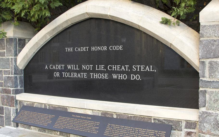 The U.S. Military Academy's honor code is spelled out at the Thayer Walk Honor Plaza in West Point, N.Y.