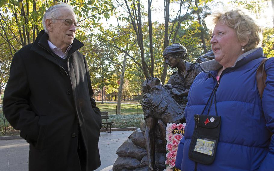 John Black and Loretta Aiken at the Vietnam Women's Memorial in Washington, D.C., on Veterans Day, November 11, 2016.