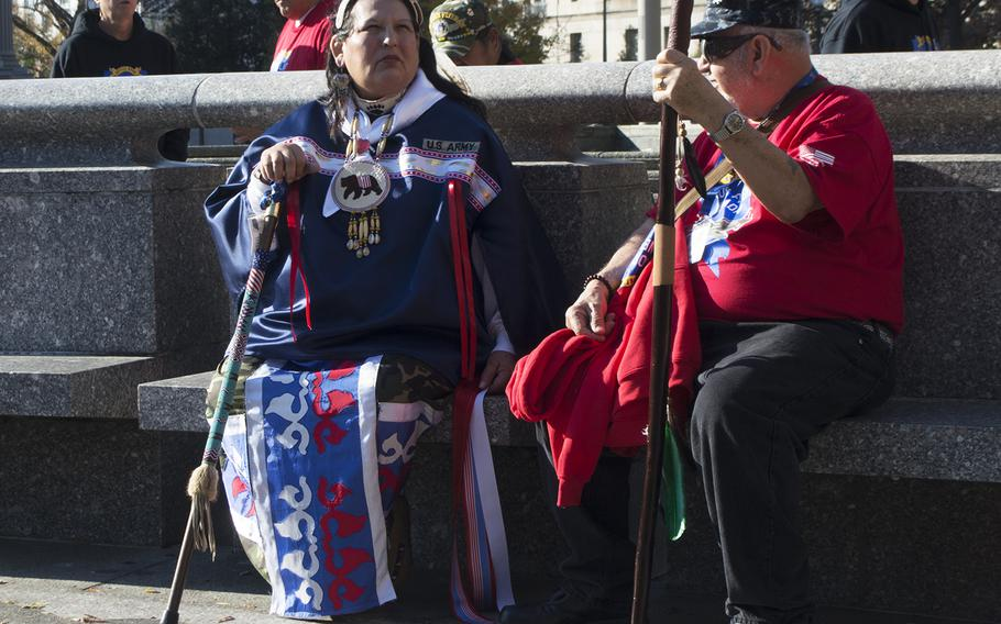 Native Americans from Nevada visit the US Navy Memorial in Washington, D.C., on Veterans Day as part of the first Native American Honor Flight.