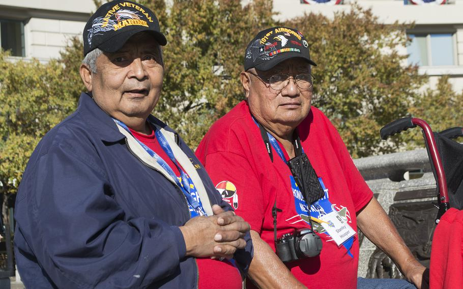 Native American veterans Steven Frank, left, and Stanley Hooper, at the US Navy Memorial in Washington, D.C., on Nov. 11, 2016, Veterans Day. They were part of the first Native American Honor Flight.