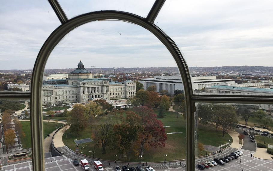 A view of the Library of Congress from the Capitol dome.