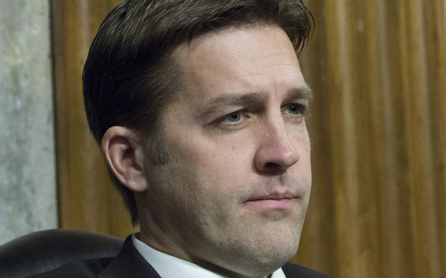 Sen. Ben Sasse, R-Neb., one of four new members of the Senate Armed Services Committee, listens to testimony during a hearing on cybersecurity, Jan. 5, 2017, on Capitol Hill.