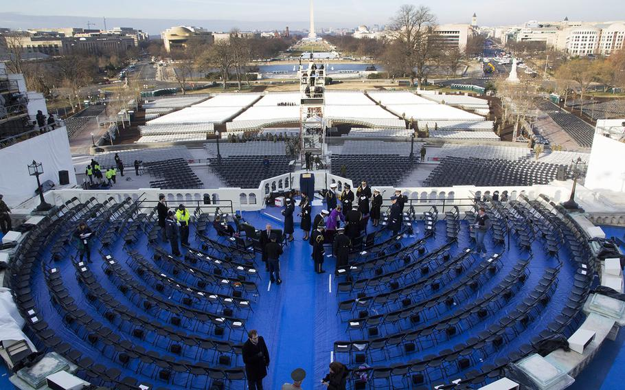 The view from the U.S. Capitol down the National Mall during an inauguration rehearsal at the U.S. Capitol, Jan. 15, 2017.