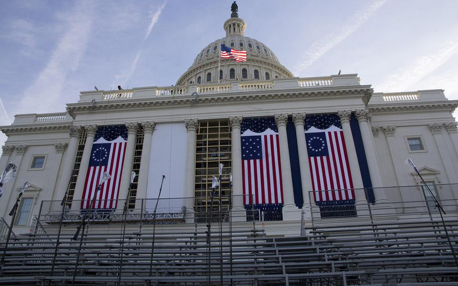 The U.S. Capitol is readied for this week's inaugural ceremonies.