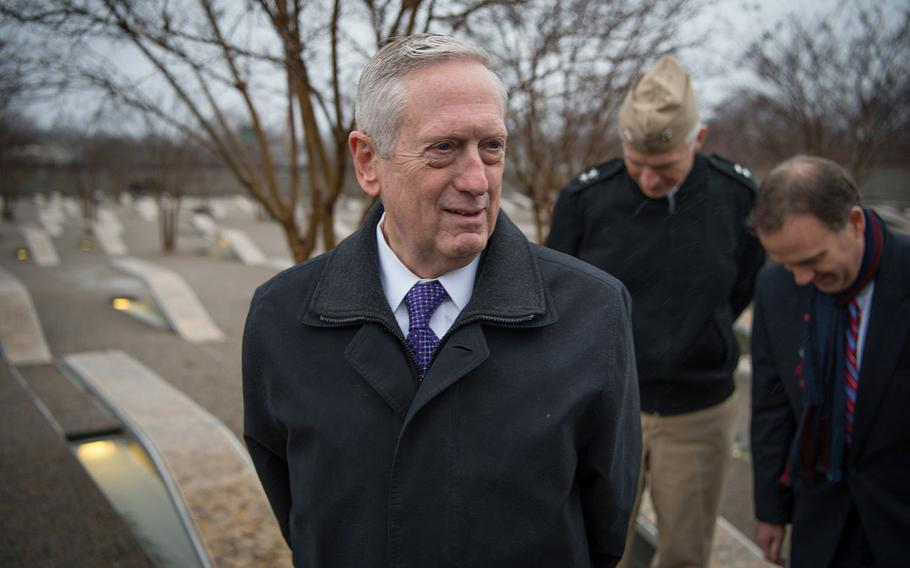 Secretary of Defense James Mattis visits the Pentagon Memorial in Washington, D.C., Jan. 23, 2017, to pay his respects to those who died in the 9/11 terrorist attacks.