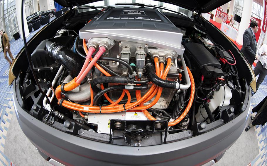 A wide-angle view under the hood of the ZH2 Fuel Cell Electric Vehicle, a joint project of General Motors and the U.S. Army, on display at the Washington Auto Show, Jan. 26, 2017.