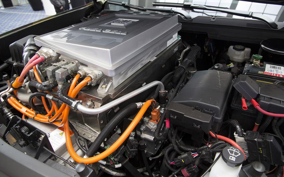 Under the hood of the ZH2 Fuel Cell Electric Vehicle, a joint project of General Motors and the U.S. Army, on display at the Washington Auto Show, Jan. 26, 2017.