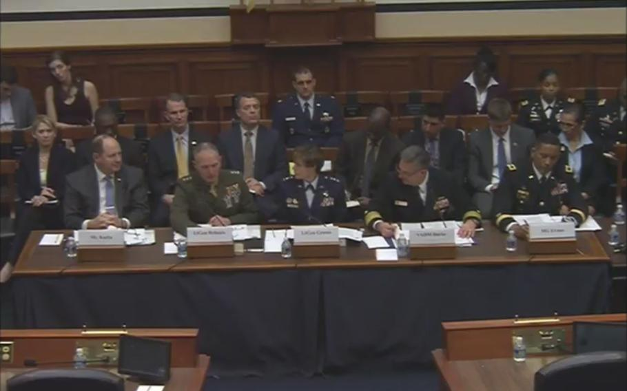 Leaders from the Marines, Navy, Air Force and Army testified during a hearing held by a House armed services subcommittee about each service's social media policies and the training in place after reports that some Marines and sailors had participated in a Facebook site called Marines United that distributed nude photos of women in the service.